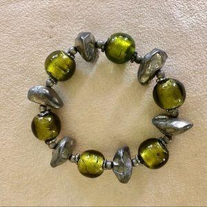 Green/grey glass beaded stretch bracelet